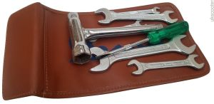 ukscooters VESPA HANDY TOOLKIT &  GENUINE LEATHER POUCH PLUG SPANNER 8 PC