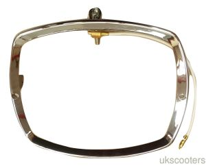 LAMBRETTA GP 125 150 200 DL HEADLIGHT CHROME RIM WITH EARTH WIRE ITALIAN BOSATTA