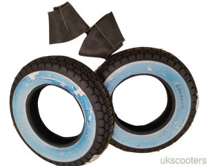 "SAVA MITAS 3 50 8 VESPA J SPEED RATED 100KM TYRE WHITEWALL  VBB 8"" WITH TUBES"